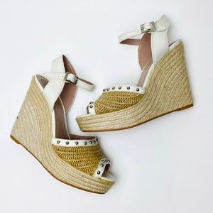 Vince Camuto NEW Studded Espadrille Straw Wedges